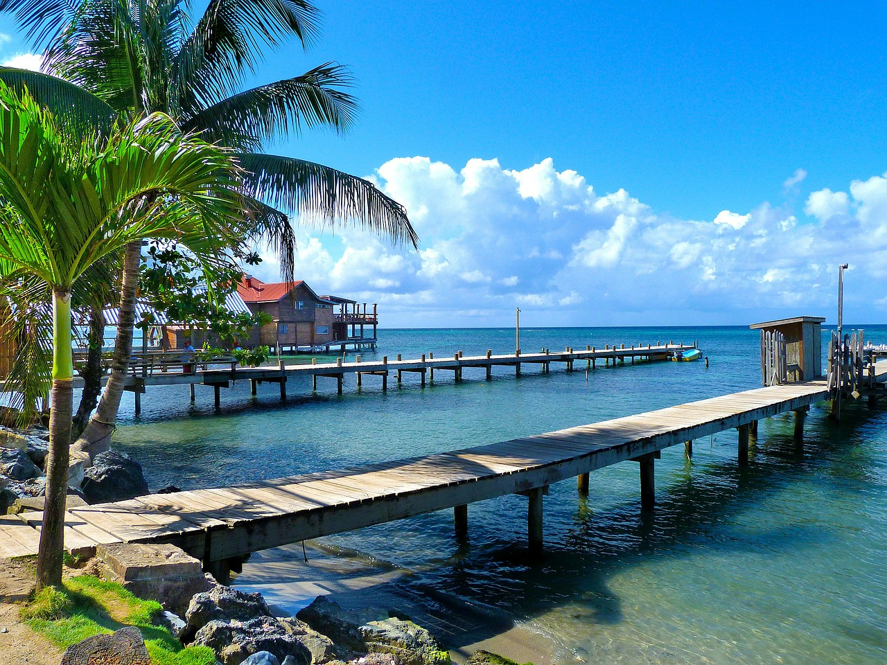 House on an ocean dock in Honduras.